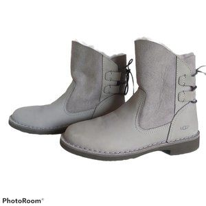 UGG 1016850 Naiyah Grey Leather Ankle Boots NWOB